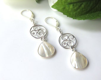 Long White Mother of Pearl Earrings,  Sterling Silver Filigree ,White Pearl Wedding Earrings,Bold Fashion Earrings, White and Silver Jewelry