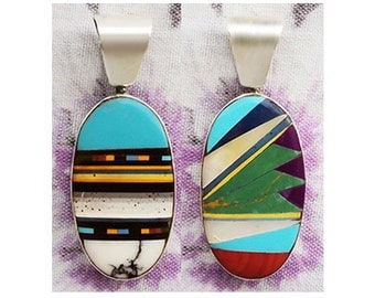 Cute Back-to-Back Inlaid Sterling Silver Pendant