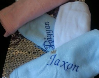 Beautiful baby fleece blanket in blue pink white  perfect gift