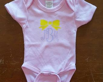 Crown Monogram Onesie, Personalized Babies Onesie, Baby Girl Onesie, Baby Onesie