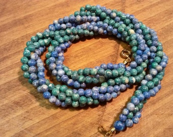 Twisted Blue and Green Stone Bead Necklace Choker
