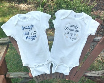Harry Potter baby Muggle Onesie HP Quote Baby shower gift set Solemnly Swear I'm up to no good custom name baby shower gift baby clothes