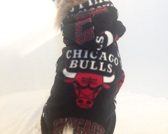 Chicago Bulls Dog Hoodie, Pet Sweater, Small Breeds