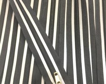 22Inch Black and Grey Striped Reflective Zipper #5 OPEN BOTTOM (Separating) 1 zipper