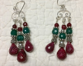 Opaque Ruby and Emerald, Sterling Silver Earrings