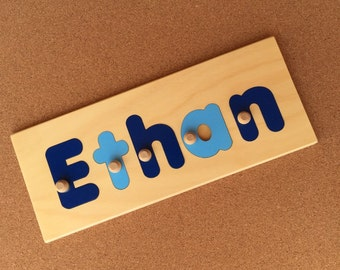 Name Puzzle 5 Letters  | add personalized engraved message on back for a keepsake gift. Shapes available in other listings