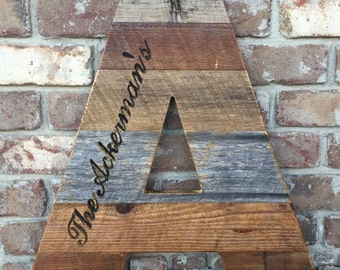 Large Rustic Wood Letters with custom engraving - made entirely from reclaimed barn wood
