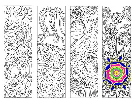 Bookmarks Coloring Printable, scaleable PDF file, size 8.5 x 11 inches (Letter), Instant Download. Vector Bookmark for Coloring. 29v.
