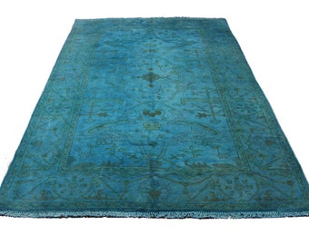 6×9 Teal Rug Blue Overdyed OOAK Turkish One Of A kind 100% Wool Pile 2696