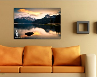 Landscape Photography, Metal Wall Art, Redfish Lake, Idaho Landscape, Scenic Mountains, Mountain Sunset, Lake Sunset, Landscape Wall Art