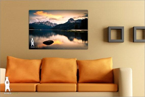 Metal Wall Art Mountain Landscapes : Landscape photography metal wall art redfish lake idaho
