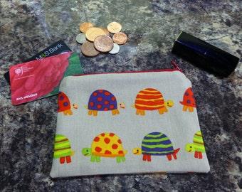 Coin Purse, Turtle Coin Purse, Turtle Makeup Bag, Turtle Medicines Bag, Turtle Medicines Pouch, Turtle Cosmetics Bag, Sea Coin Purse