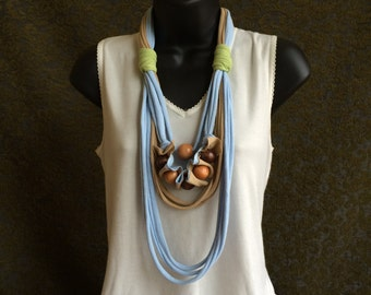 upcycled tshirt necklace with wooden beads