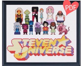 Steven Universe Pixel People Cross Stitch Pattern - PDF Instant Download Pattern