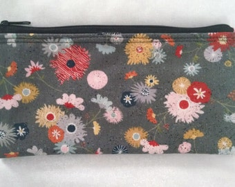 Gray speckled Floral Fabric zippered pouch bag