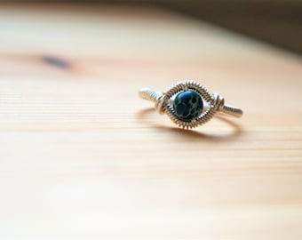 Sterling Silver Wire Wrapped Ring//size 7-8