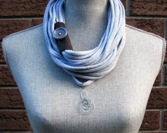 Infinity Scarf, T-Shirt Scarf, Summer Scarf, Recycled Scarf, Eco Friendly Scarf, Gray Scarf, T-Shirt Necklace, 99.9% Recycled Gray Scarf