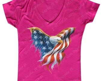 USA Eagle Flag - Ladies' V-neck