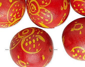 Orange Bead, Wood Bead, Tribal Bead, Red with Yellow Flower Bead, 24 to 25mm, 4 each, D809