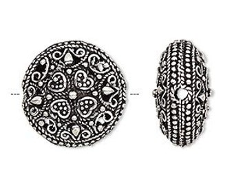 Antiqued Silver Bead, Puffed Round with Heart Designs, Filigree, 20mm, 1 each, D821