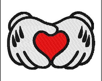 Mickey Mouse Heart Love Hands Embroidery Design
