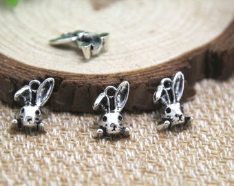 35pcs-- Rabbit head charms, Antique Silver Vintage 3D Rabbits head Charms Pendants 13x10mm D1659