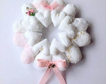 Shabby Chic Pastel Pink Hanging Heart Wreath
