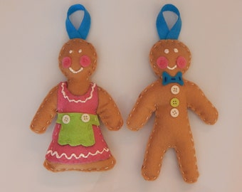 Gingerbread Man and Woman Ornaments