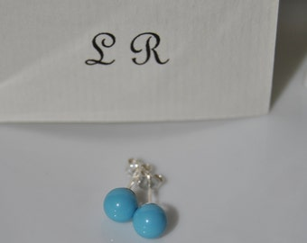 earrings, swarowski turquoise, stud, 925 sterling silver, made in Italy