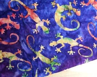 Purple batik fabric by the yard fat quarter, gecko lizard fabric, animal fabric, hand dyed fabric, batik cotton fabric quilt fabric yardage