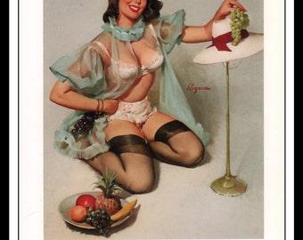 "Gil Elvgren Vintage Pinup Illustration ""A Tasty Treat 1965"" Sexy Pinup Mature Wall Art Deco 1995 Book Print 9 3/4"" x 14"""