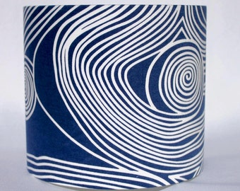 SECONDS Lamp Shade Cats and Blue Swirl