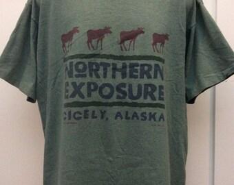Vtg 1991 Northern Exposure Cicely Alaska T-Shirt Green XL 90s TV Show