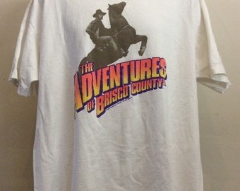 Vtg 1993 The Adventures of Brisco County Jr T-Shirt White XL 90s Bruce Campbell TV Show