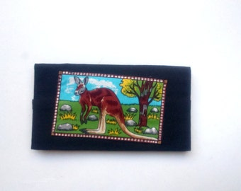 door black checkbook with a kangaroo
