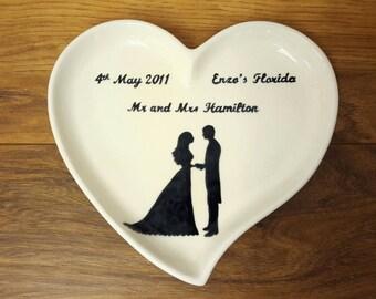 Wedding Gift Couples Gift Love Heart Shaped Dish Custom Wedding Gift Anniversary Gift Personalised