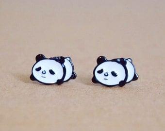 Handmade Stud Earrings- Panda Bear/ Chinese Animal / Zoo Animal