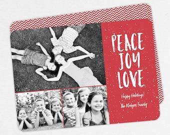 Christmas Cards, Holiday Cards, Photo Christmas Cards, Peace Joy Love Christmas Cards, Family Christmas Cards, PDF