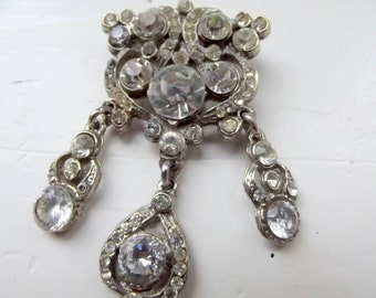 Art Deco Rhinestone Chromed Brooch
