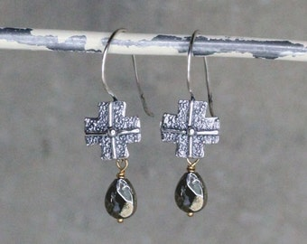 Sterling Cross Pyrite Earrings