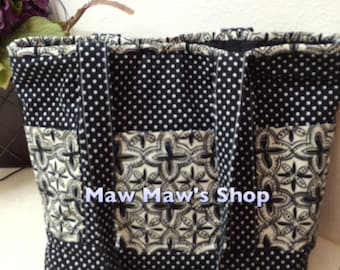 handbag, shoulder bag, handmade handbag, fabric handbag, cloth handbag, black and white handbag