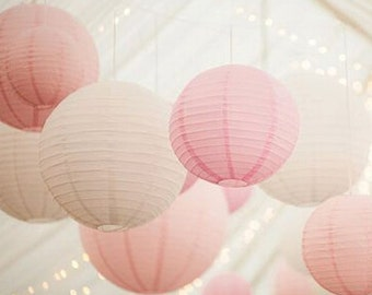 24PCS Mixed Size White Pink Wedding Paper Lantern Lampshade Birthday Baby Shower Party Garden Home Decoration