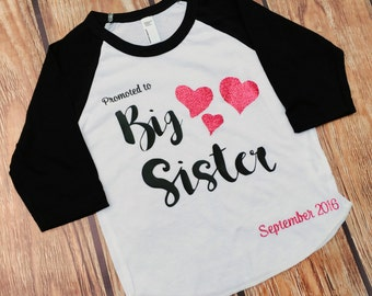 Big Sister Shirt - Promoted to Big Sister - Raglan Tee - Big Sister to be shirt - Big Sister Shirt - Big Sis Shirt - Pregnancy Announcement