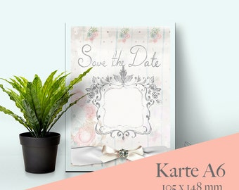 Save the date wedding invitation vintage A6 digital download