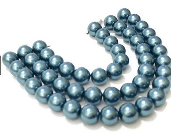 Craft Pearls / 50 Teal Glass Pearl Beads / 8mm Blue Glass Beads / Crafting / Glass Pearls / Glass Beads / DIY Craft