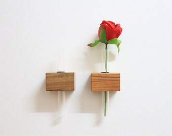Magnetic Test Tube Bud Vase made from recycled wood
