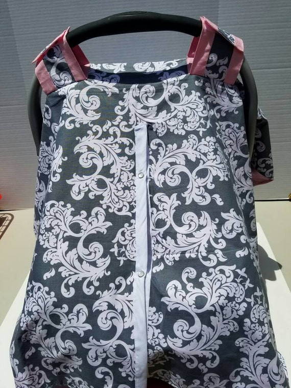 Gray And White Damask With Light Pink Car Seat Cover Car Seat
