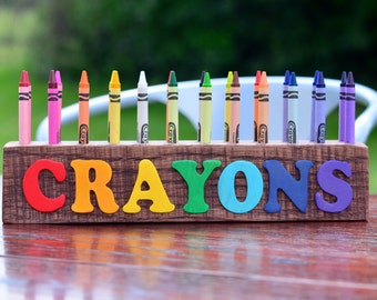 Reclaimed Wood Crayon Holder with 3D Letters