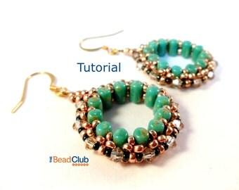 Beaded Earring Patterns - Beading Tutorials and Patterns - Beadweaving Tutorial - Beaded Hoop Earrings - Dazzling Doughnut Earrings