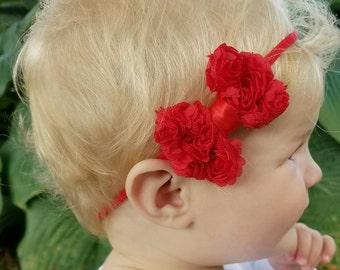 Red bow headband, red headband, nylon baby headband, nylon headband baby, valentine hair bow, infant headbands, one size headband
